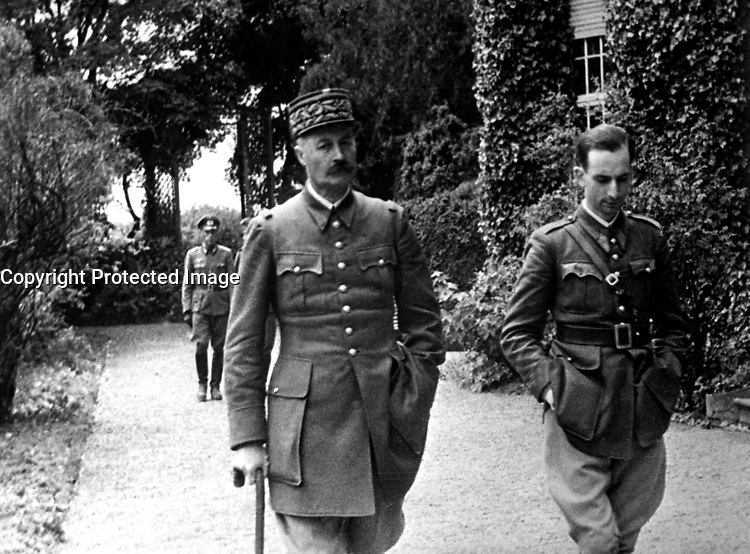 The captured French General Giraud, during his daily walk.  Germany, ca. 1940-41.  (Office of Alien Property)<br /> Exact Date Shot Unknown<br /> NARA FILE #:  131-NO-29-16<br /> WAR &amp; CONFLICT BOOK #:  1276