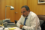 Avigdor Lieberman, Israel's Foreign Minister, at his office in Jerusalem.<br /> <br /> <br /> <br /> Photo by Ahikam Seri