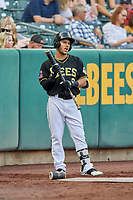 Michael Hermosillo (2) of the Salt Lake Bees waits to bat on deck against the Nashville Sounds at Smith's Ballpark on July 27, 2018 in Salt Lake City, Utah. The Bees defeated the Sounds 8-6. (Stephen Smith/Four Seam Images)