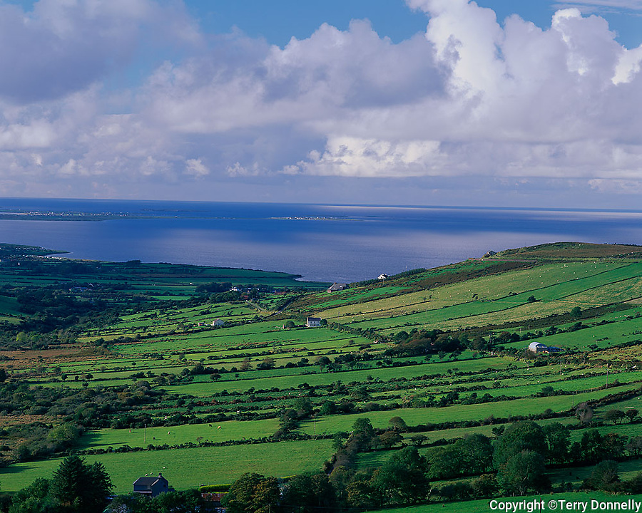 County Kerry, Ireland   <br /> Green pastures and farms on a Dingle Peninsula hillside above Tralee Bay