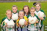 STAR APPEAL: Young football stars from South Kerry  enjoying the Kerry GAA VHI Cul Camp in Caherciveen on Friday last. Front L/r. Alannah O'Sullivan (Caherciveen), Meave Daly (Caherciveen) and Emer Kissane (Caherciveen)..Back L/r. Mairead Beowne (Ballinskelligs), Sara O'Neill (Caherciveen) and Niamh Dillane (Ballinskelligs)..