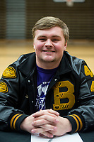 NWA Democrat-Gazette/BEN GOFF @NWABENGOFF<br /> Brendan Wrona, Bentonville football player, poses for a photo Wednesday, Feb. 6, 2019, during a signing ceremony at Bentonville's Tiger Arena. Wrona signed to play at McKendree.