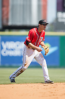 Richmond Flying Squirrels shortstop Kelby Tomlinson (1) on defense against the Bowie Baysox at The Diamond on May 24, 2015 in Richmond, Virginia.  The Flying Squirrels defeated the Baysox 5-2.  (Brian Westerholt/Four Seam Images)