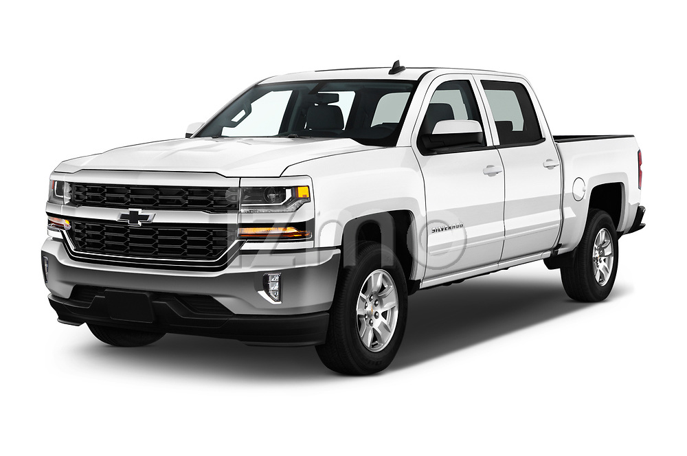 2017 Chevrolet Silverado-1500 LT-Crew 4 Door Pick-up Angular Front stock photos of front three quarter view