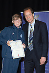 St Johnstone FC Youth Academy Presentation Night at Perth Concert Hall..21.04.14<br /> Alec Cleland presents to Kyle Woolley<br /> Picture by Graeme Hart.<br /> Copyright Perthshire Picture Agency<br /> Tel: 01738 623350  Mobile: 07990 594431