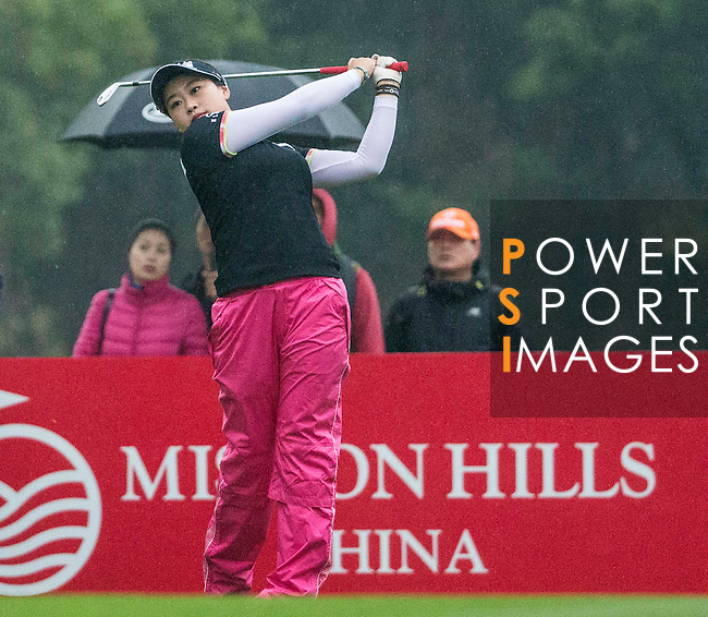 Han Sol Ji of South Korea tees off at the 17th hole during Round 3 of the World Ladies Championship 2016 on 12 March 2016 at Mission Hills Olazabal Golf Course in Dongguan, China. Photo by Victor Fraile / Power Sport Images