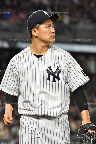 Masahiro Tanaka (Yankees),<br /> JUNE 24, 2016 - MLB :<br /> Masahiro Tanaka of the New York Yankees walks back to the dugout after the top of the sixth inning during the Major League Baseball game against the Minnesota Twins at Yankee Stadium in the Bronx, New York, United States. (Photo by Hiroaki Yamaguchi/AFLO)