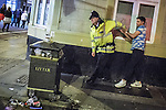 © Joel Goodman - 07973 332324 . FILE PICTURE DATED 05/05/2013 of a policeman detaining a man following a domestic dispute in Central Manchester overnight as the British Home Secretary , Theresa May , takes questions at the annual Police Federation conference on licensing and policing the night time economy , today (Wednesday 15th May 2013) . Photo credit : Joel Goodman