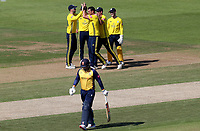 Kyle Abbott of Hampshire celebrates taking the wicket of Simon Harmer during Hampshire vs Essex Eagles, Vitality Blast T20 Cricket at the Ageas Bowl on 25th August 2019