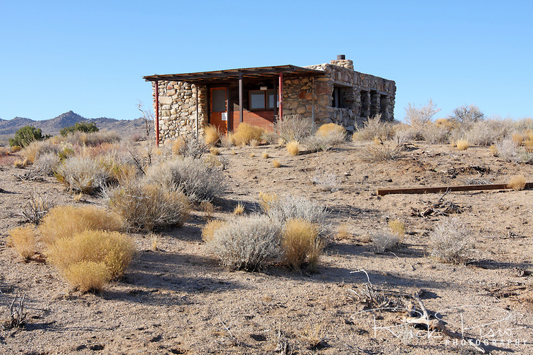 Rock House in Mojave National Preserve was built in the 1930's by World War I veteran Bert G. Smith. The rock structure is near the Mojave Road and is now under the care of the National Park Service.