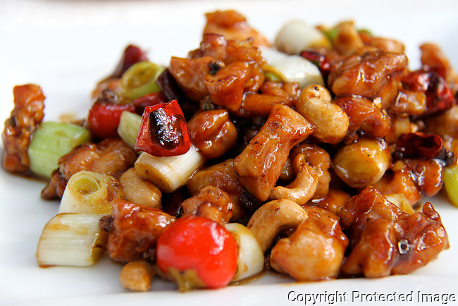 Chinese chilli chicken and cashews gongbao ji ding delicious food photo