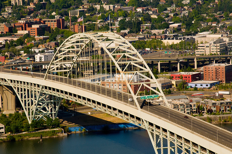 Fremont Bridge with Portland in the Background, Oregon