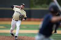 Wake Forest Demon Deacons starting pitcher Connor Johnstone (3) in action against the Georgia Tech Yellow Jackets at David F. Couch Ballpark on March 26, 2017 in  Winston-Salem, North Carolina.  The Demon Deacons defeated the Yellow Jackets 8-4.  (Brian Westerholt/Four Seam Images)