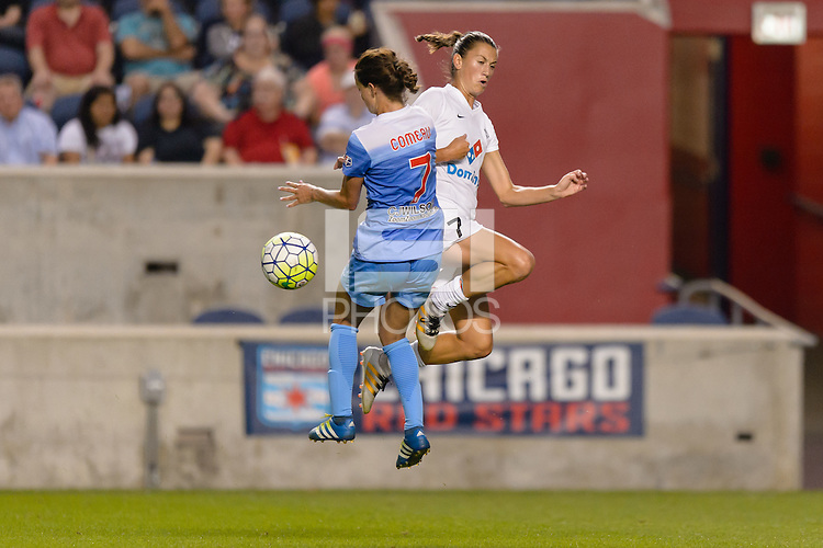 Chicago, IL - Saturday July 30, 2016: Taylor Comeau, Mandy Laddish during a regular season National Women's Soccer League (NWSL) match between the Chicago Red Stars and FC Kansas City at Toyota Park.