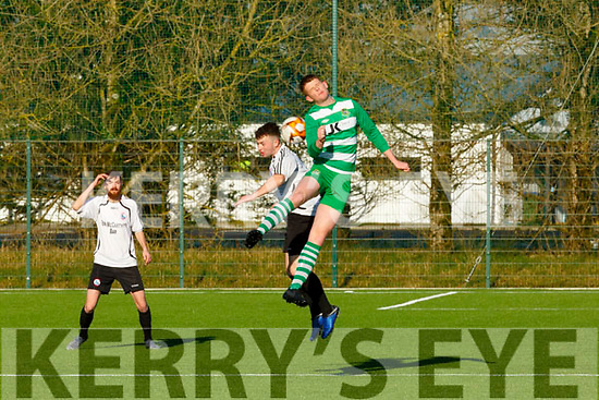 Colin McCarthy Castleisland AFC and Joseph Grimes Listowel Celtic contesting for the ball during their Premier league game in Georgie O'Callaghan Park on Sunday