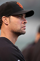 Ryan Vogelsong #32 of the San Francisco Giants watches a game against the Los Angeles Angels at Angel Stadium on June 18, 2012 in Anaheim, California. San Francisco defeated Los Angeles 5-3. (Larry Goren/Four Seam Images)