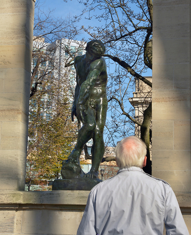 One of the sculptures in front of the Rodin Museum, on Benjamin Franklin Parkway, in Philadelphia, PA, on Monday, November 27, 2017. Photo by Jim Peppler. Copyright/Jim Peppler-2017.
