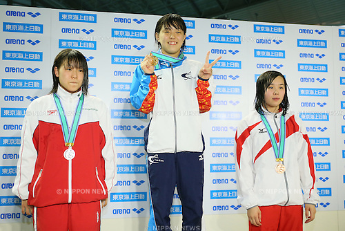 (L to R) <br /> Sae Saito, <br /> Sao Yokota, <br /> Sakino Akaishi, <br /> MARCH 29, 2015 - Swimming : <br /> The 37th JOC Junior Olympic Cup <br /> Women's 200m Breaststroke <br /> 15-16 years old award ceremony <br /> at Tatsumi International Swimming Pool, Tokyo, Japan. <br /> (Photo by YUTAKA/AFLO SPORT)