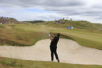 Shane Lowry (IRL) plays his 2nd shot from a fairway bunker on the 1st hole during Saturday's Round 3 of the 2018 Dubai Duty Free Irish Open, held at Ballyliffin Golf Club, Ireland. 7th July 2018.<br /> Picture: Eoin Clarke | Golffile<br /> <br /> <br /> All photos usage must carry mandatory copyright credit (&copy; Golffile | Eoin Clarke)