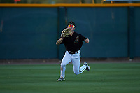 AZL D-backs left fielder Corbin Carroll (2) attempts to catch a fly ball during an Arizona League game against the AZL Mariners on July 3, 2019 at Salt River Fields at Talking Stick in Scottsdale, Arizona. The AZL D-backs defeated the AZL Mariners 3-1. (Zachary Lucy/Four Seam Images)