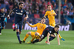 Atletico de Madrid's Augusto Fernandez and Lucas Hernandez and FC Barcelona Lionel Messi during Champions League 2015/2016 Quarter-Finals 2nd leg match. April 13, 2016. (ALTERPHOTOS/BorjaB.Hojas)