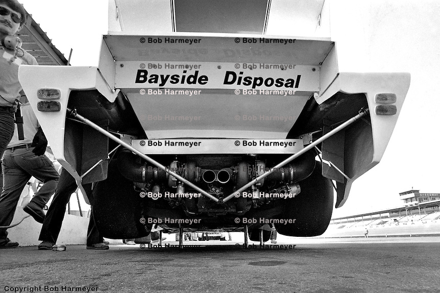 The business end of Bruce Leven's Porsche 935, on the jacks during a pre-race practice session in 1982. Leven was joined in the car by Al Holbert and Hurley Haywood, qualifying 4th and finishing 15th.