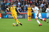4th November 2017, Liberty Stadium, Swansea, Wales; EPL Premier League football, Swansea City versus Brighton and Hove Albion; Pascal Gross of Brighton on the attack with Jordan Ayew of Swansea City putting on pressure from behind