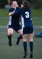 Action from the Wellington 1st XI premier girls football match between Queen Margaret's College and Onslow College at Wakefield Park in Wellington, New Zealand on Wednesday, 7 August 2019. Photo: Dave Lintott / lintottphoto.co.nz