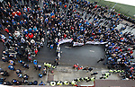 Rangers fans kept away from the main door by police and stewards as they contimue their protests against the current board