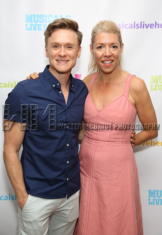 """Josh Canfield and Kelly Devine backstage at the New York Musical Festival production of  """"Alive! The Zombie Musical"""" at the Alice Griffin Jewel Box Theatre on July 29, 2019 in New York City."""