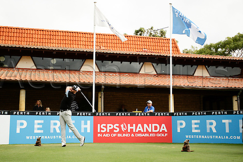 28.02.2016. Perth, Australia. ISPS HANDA Perth International Golf. Adam Bland (AUS) tees off for his final round.