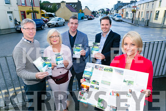 Launching the New  'Discover Castleisland' booklet were front Lisa Geaney, Crag Caves, Back l-r Jeremy Burke, Tomo Burke Electrical, Tina McElligott , Airbnb, Shane McAuliffe, McAuliffe Trucking, Mark McElligott, McElligotts Castleisland