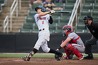 Zach Remillard (8) of the Kannapolis Intimidators follows through on his swing against the Hagerstown Suns at Kannapolis Intimidators Stadium on June 14, 2017 in Kannapolis, North Carolina.  The Intimidators defeated the Suns 10-1 in game two of a double-header.  (Brian Westerholt/Four Seam Images)