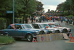 Silver Jubilee 1977 north London Hampstead. Three Rolls Royces coloured Red White  well gey and Blue, block of the street. God Save the Queen.