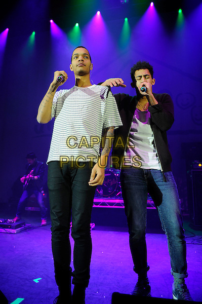 LONDON, ENGLAND - December 19: Harley Alexander-Sule and Jordan Stephens of Rizzle Kicks performing at the 'Under 1 Roof' Charity Concert at the Eventim Apollo on December 19, 2013 in London, England