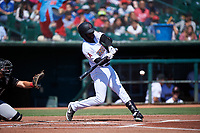 Inland Empire 66ers right fielder Torii Hunter, Jr. (4) during a California League game against the Modesto Nuts on April 10, 2019 at San Manuel Stadium in San Bernardino, California. Inland Empire defeated Modesto 5-4 in 13 innings. (Zachary Lucy/Four Seam Images)