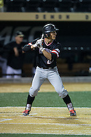 Max Bazin (21) of the Davidson Wildcats at bat against the Wake Forest Demon Deacons at David F. Couch Ballpark on February 28, 2017 in Winston-Salem, North Carolina.  The Demon Deacons defeated the Wildcats 13-5.  (Brian Westerholt/Four Seam Images)