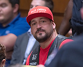 An unidentified Trump supporter in the audience as Judge Brett Kavanaugh testifies before the United States Senate Judiciary Committee on his nomination as Associate Justice of the US Supreme Court to replace the retiring Justice Anthony Kennedy on Capitol Hill in Washington, DC on Thursday, September 6, 2018.<br /> Credit: Ron Sachs / CNP<br /> (RESTRICTION: NO New York or New Jersey Newspapers or newspapers within a 75 mile radius of New York City)