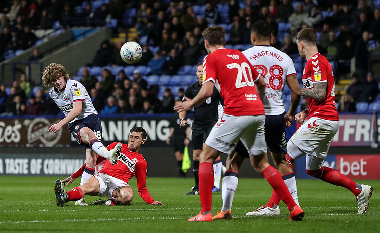 Bolton Wanderers' Luca Connell shoots at goal <br /> <br /> Photographer Andrew Kearns/CameraSport<br /> <br /> The EFL Sky Bet Championship - Bolton Wanderers v Middlesbrough -Tuesday 9th April 2019 - University of Bolton Stadium - Bolton<br /> <br /> World Copyright © 2019 CameraSport. All rights reserved. 43 Linden Ave. Countesthorpe. Leicester. England. LE8 5PG - Tel: +44 (0) 116 277 4147 - admin@camerasport.com - www.camerasport.com