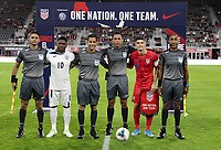 WASHINGTON, D.C. - OCTOBER 11: Captians Arichel Hernandez #10 of Cuba and Christian Pulisic #10o f the United States prior to the start of their Nations League game between the USA and Cuba at Audi Field, on October 11, 2019 in Washington D.C.