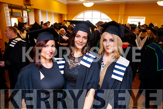 Izabela Puszko (Killarney and Poland), Nita Comerford (Dingle) and Julia O'Connor (Tralee), all who graduated in Higher Certificate in Culinary Arts, from IT Tralee, at the Brandon Conference Centre, Tralee on Friday last.