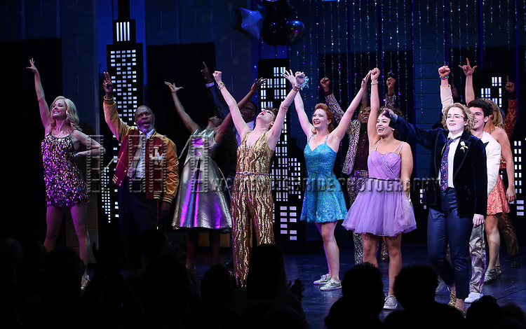 """Angie Schworer, Michael Potts, Beth Leavel, Isabelle McCalla and Caitlin Kinnunen during the Broadway Opening Night Curtain Call of """"The Prom"""" at The Longacre Theatre on November 15, 2018 in New York City."""