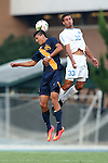 29 August 2014: Cal's Stefano Bonomo (25) and North Carolina's Raby George (SWE) (33). The University of North Carolina Tar Heels hosted the University of California Bears at Fetzer Field in Chapel Hill, NC in a 2014 NCAA Division I Men's Soccer match. North Carolina won the game 3-1.