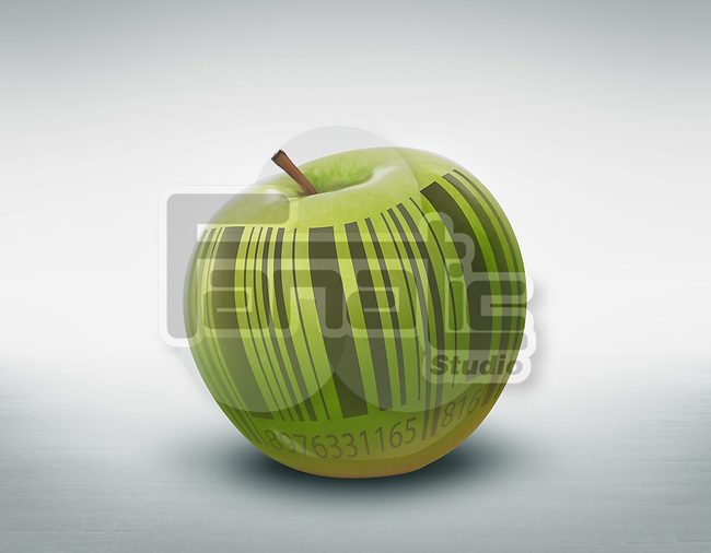 Illustration of green apple with barcode over colored background