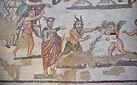 Close up detail of the Roman mosaics of the Vestibule of Eros &amp; Pan, room no 43  at the Villa Romana del Casale, first quarter of the 4th century AD. Sicily, Italy. A UNESCO World Heritage Site.<br /> <br /> The Vestibule of Eros and Pan Roman floor mosaic at the Villa Romana del Casale depicts a scene that is intended to show how difficult it is for someone like Pan , who is ugly but has a good heart, to conquer love, represented by Eros. Between the two divinities are a palm leaf and a coin symbolising the prizes to be awarded to the winner of the contest.