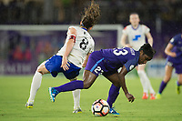 Orlando, FL - Saturday June 03, 2017:  Julie King, Jasmyne Spencer during a regular season National Women's Soccer League (NWSL) match between the Orlando Pride and the Boston Breakers at Orlando City Stadium.