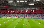 """23.05.2020, Allianz Arena, München, GER, 1.FBL, FC Bayern München vs Eintracht Frankfurt 23.05.2020 , <br /><br />Nur für journalistische Zwecke!<br /><br />Gemäß den Vorgaben der DFL Deutsche Fußball Liga ist es untersagt, in dem Stadion und/oder vom Spiel angefertigte Fotoaufnahmen in Form von Sequenzbildern und/oder videoähnlichen Fotostrecken zu verwerten bzw. verwerten zu lassen. <br /><br />Only for editorial use! <br /><br />DFL regulations prohibit any use of photographs as image sequences and/or quasi-video..<br />im Bild<br />Ein Blick auf deas Spielfeld, dahinter ist der Schriftzug """" Bayern München """" auf der leeren Tribüne zu sehen. <br /> Foto: Christian Kunz/DPA/Pool/Bratic/nordphoto"""