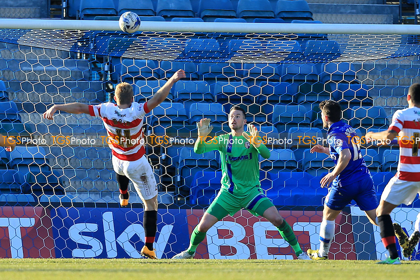 Curtis Main of Doncaster Rovers lofts a ball just over the bar - Gillingham vs Doncaster Rovers - Sky Bet League One Football at Priestfield Stadium, Gillingham, Kent - 07/03/15 - MANDATORY CREDIT: Simon Roe/TGSPHOTO - Self billing applies where appropriate - contact@tgsphoto.co.uk - NO UNPAID USE