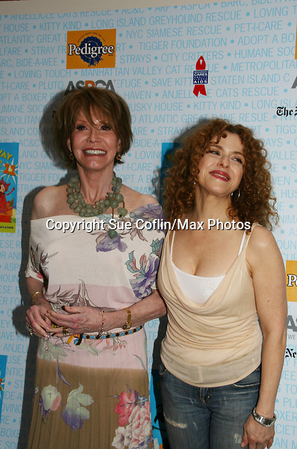 """Hosts Mary Tyler Moore & Bernadette Peters at Broadway Barks 11 - a """"Pawpular"""" star-studded dog and cat adopt-a-thon on July 11, 2009 in Shubert Alley, New York City, NY. (Photo by Sue Coflin/Max Photos)"""