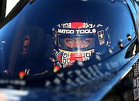 Feb 4, 2016; Chandler, AZ, USA; NHRA top fuel driver Antron Brown during pre season testing at Wild Horse Pass Motorsports Park. Mandatory Credit: Mark J. Rebilas-USA TODAY Sports